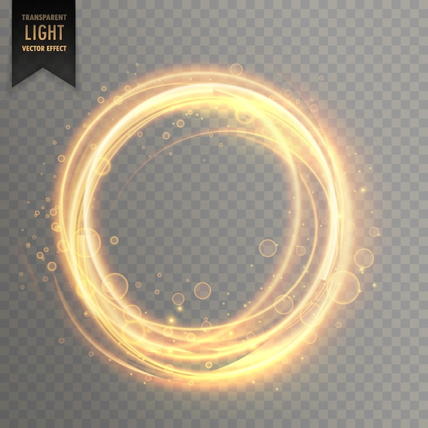 Transparent light effect with circlular golden sparkles Free Vector