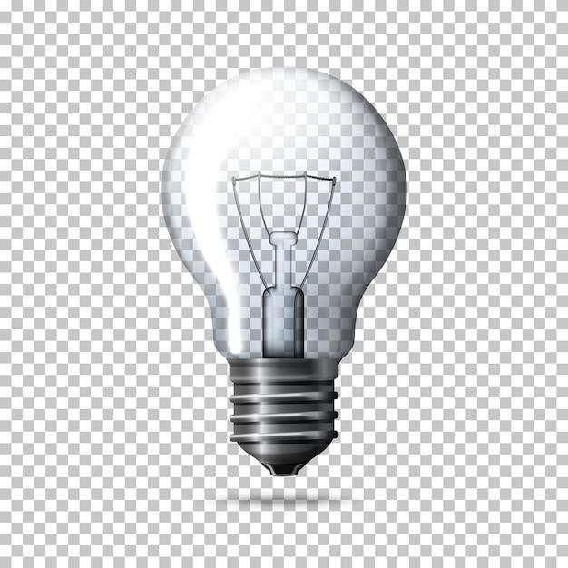 Transparent realistic light bulb Premium Vector