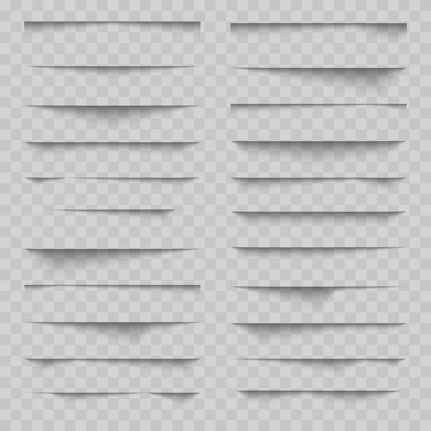 Transparent realistic paper shadow effect set Premium Vector