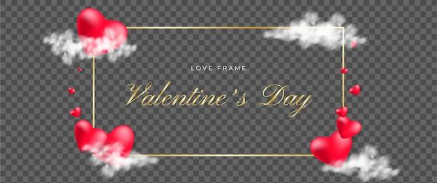 Прозрачный романтический шаблон поздравительной открытки день святого валентина Premium векторы