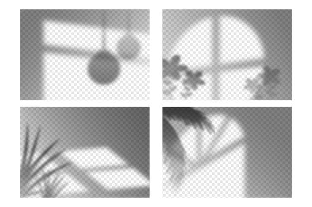 透明な影のオーバーレイ効果セット 無料ベクター