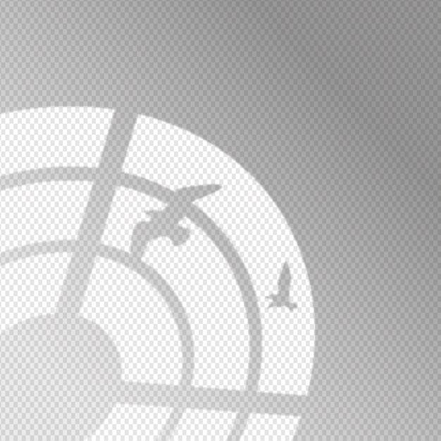 鳥と透明な影のオーバーレイ効果 無料ベクター