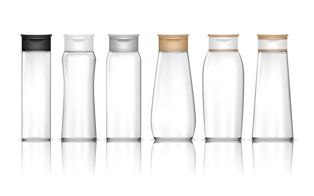 透明なシャンプーボトルが分離されました。ジェル、ローション、クリーム、バスフォーム用の液体容器。美容製品パッケージ。 Premiumベクター