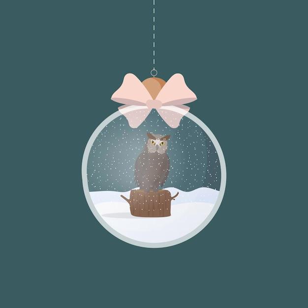 イラストの中にフクロウと透明な銀のクリスマスボール Premiumベクター