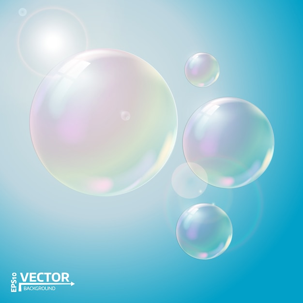 Transparent soap bubbles. Premium Vector