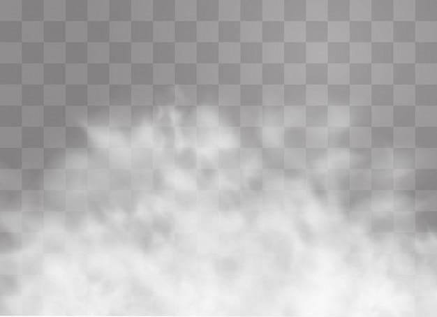 Прозрачный спецэффект выделяется туманом или дымом. белое облако, туман или смог. Premium векторы