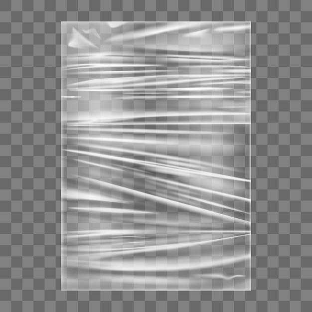 투명 스트레치 플라스틱 랩 텍스처. 스트레치 필름 배경 포장 현실적인 폴리에틸렌. 투명한 셀로판 패키지 프리미엄 벡터