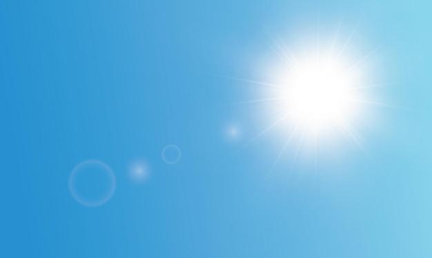 透明な日光。特別なハイライト。太陽光線..太陽光線。青空。 Premiumベクター