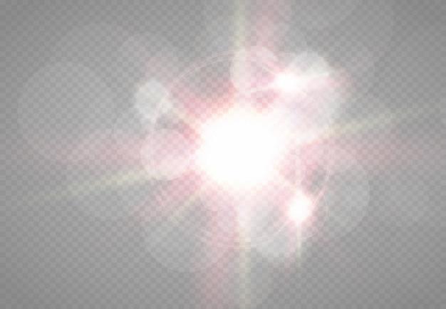 透明な日光の特別なレンズフラッシュライトeffect.front太陽レンズフラッシュ。輝きに照らしてぼかします。装飾の要素。水平方向の恒星の光線とサーチライト。 Premiumベクター