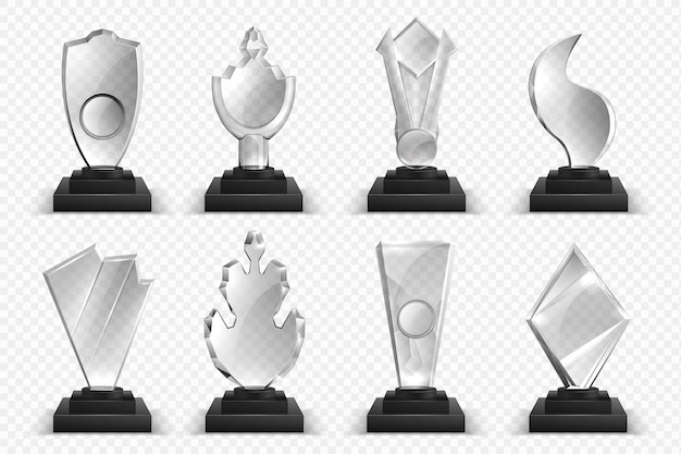 투명한 트로피. 현실적인 유리 크리스탈 상, 수상자 상 별과 컵, 3d 챔피언십 상 컬렉션. 프리미엄 벡터