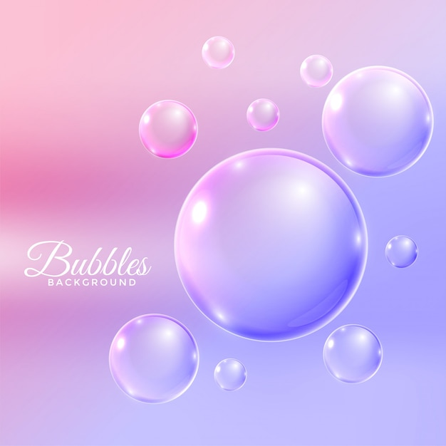 Transparent water bubbles flying background Free Vector