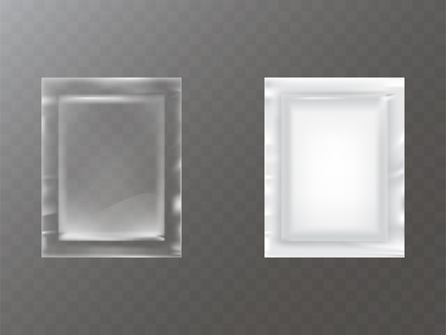 Transparent and white plastic or foil sachet Free Vector