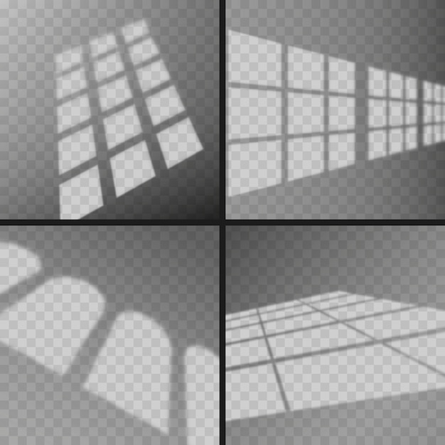 Transparent window shadows overlay effect Premium Vector
