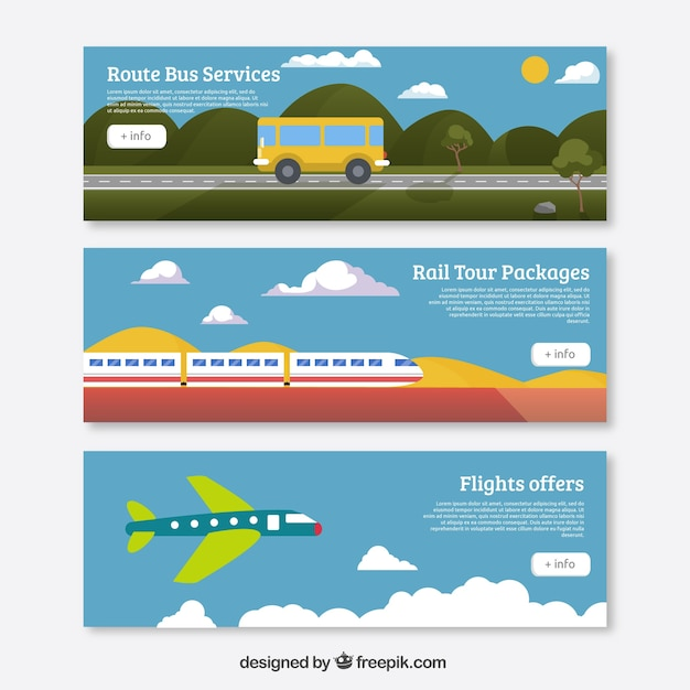 Transport Banners Vector Free Download