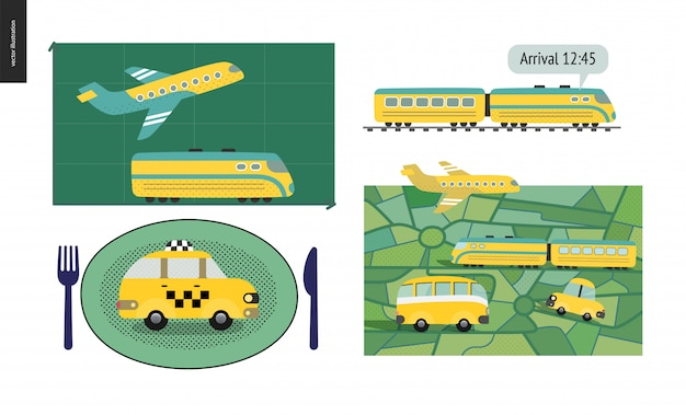 Transport by planet, train, bus o taxi Premium Vector