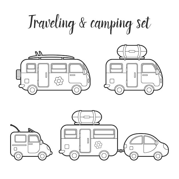 Транспортный караван и прицеп изолированный набор. иллюстрация типов передвижного дома. путешественник грузовик векторный icon. концепция летней поездки семейного путешественника Premium векторы