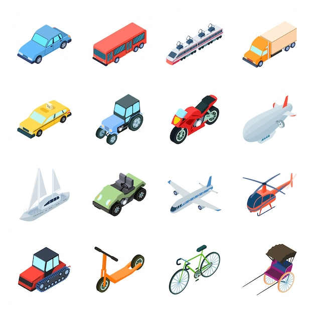 Transport  cartoon set icon. isolated cartoon set icon travel. illustration transport  . Premium Vector