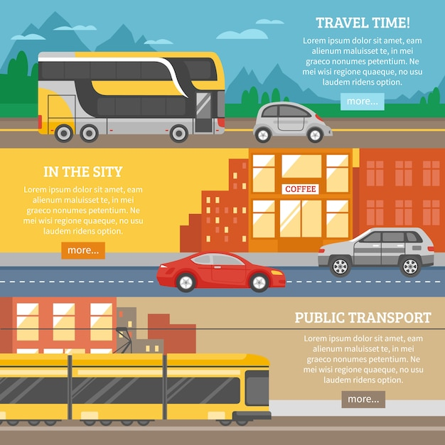 Transport for city and travel banners Free Vector