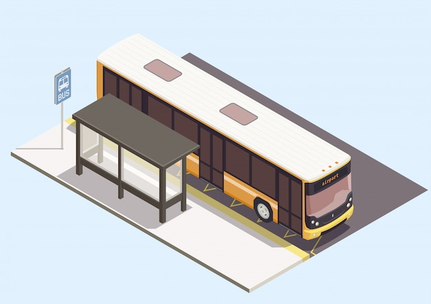 Transport composition with bus near stop on blue background 3d Free Vector