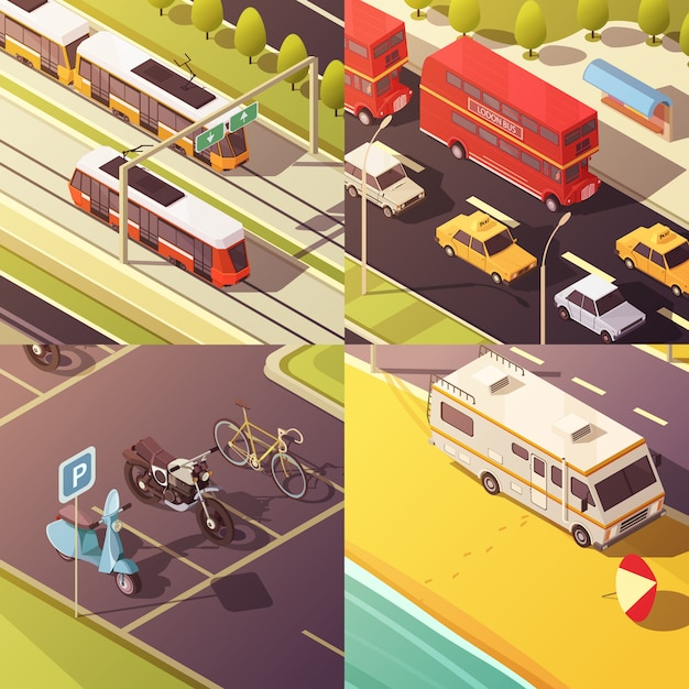 Transport concept icons set with cars and vans Free Vector