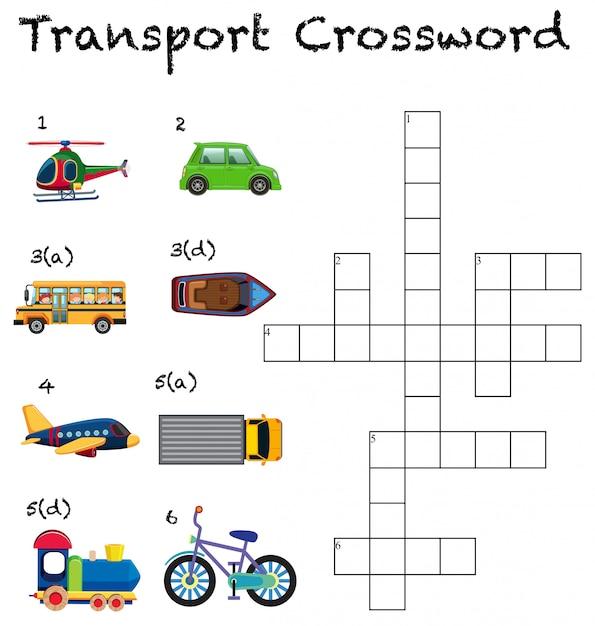 A transport crossword worksheet Premium Vector