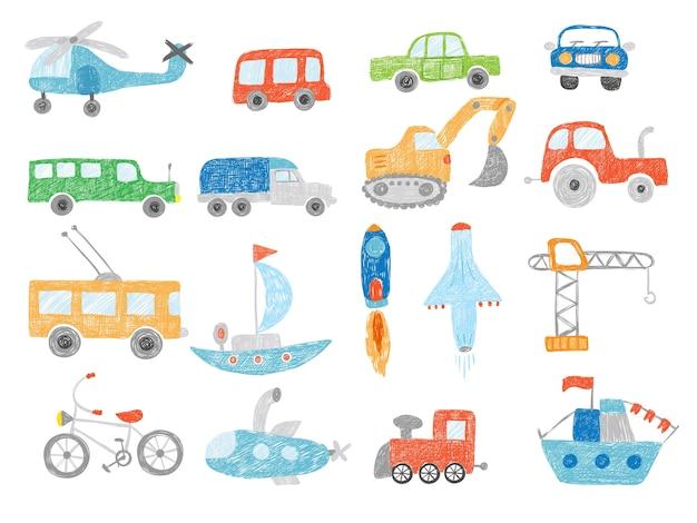 トランスポート落書き。テクニクストラクター車の飛行機と船のベクトル画像を分離して描く子供たち。イラスト輸送おもちゃのスケッチ、掘削機、ヘリコプター Premiumベクター