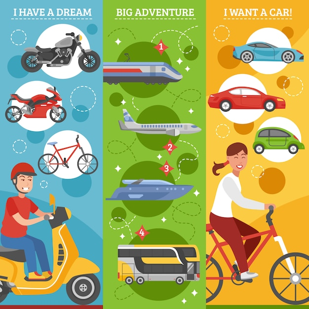 Transport dreams vertical banners set Free Vector