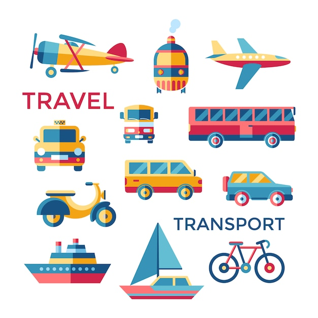 Transport elements collection Free Vector