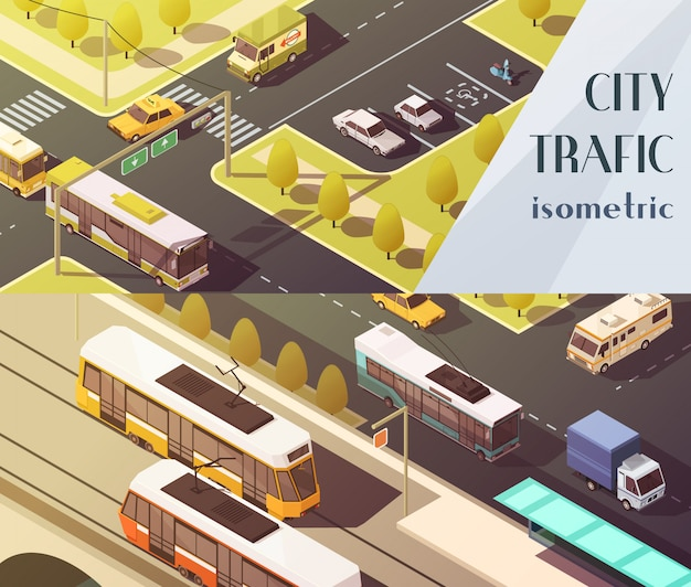Transport horizontal banners set with city traffic symbols Free Vector