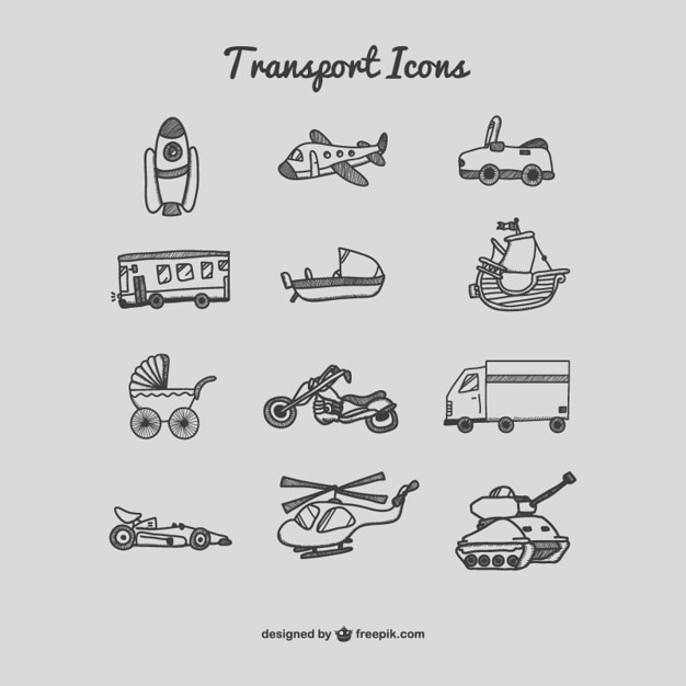 Transport icons drawing set Free Vector