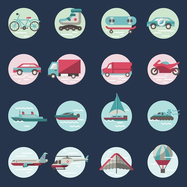 Transport icons round set Premium Vector