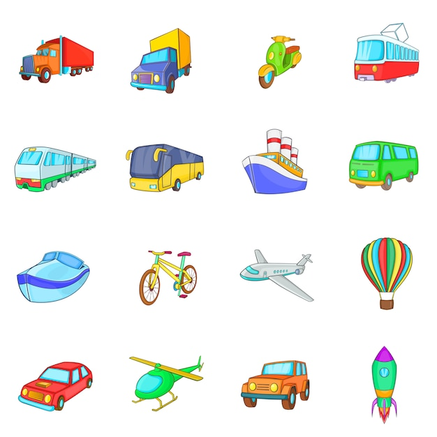 Transport icons set Premium Vector