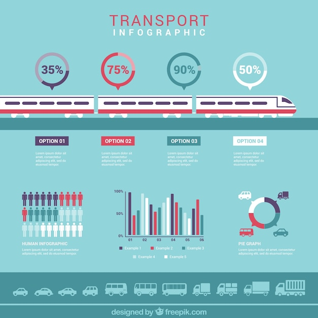 transport infographic with a train vector