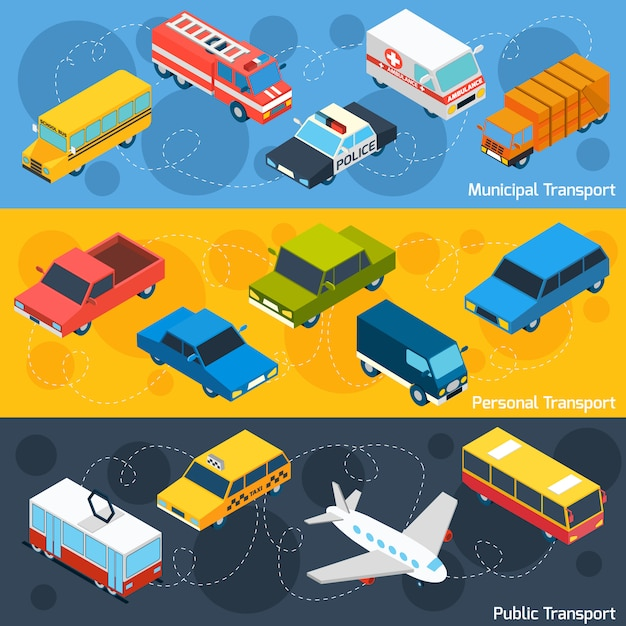 Transport isometric banner set Free Vector