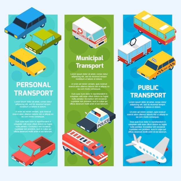 Transport isometric banners vertical Free Vector