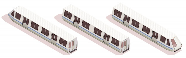 Transport isometric composition with three subway trains isolated on white background 3d Free Vector