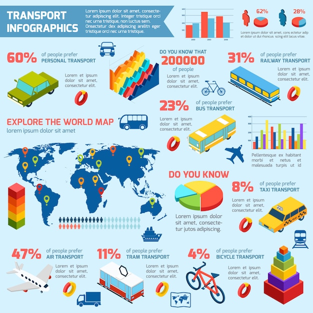 Transport isometric infographics Free Vector