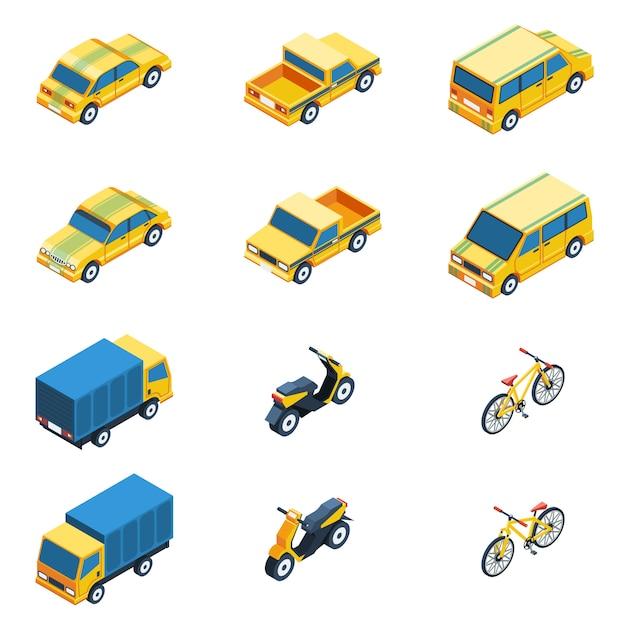 Transport isometric set Free Vector