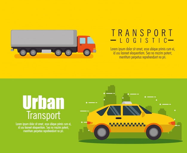 Transport logistic set vehicles banner set Free Vector