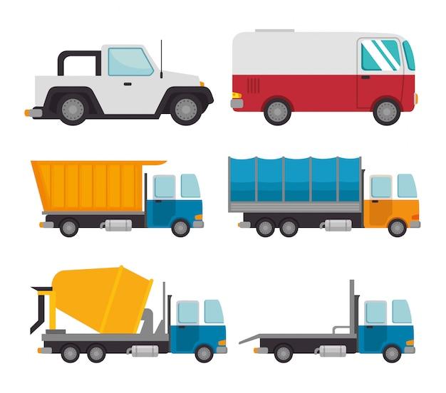 Transport logistic set vehicles Free Vector