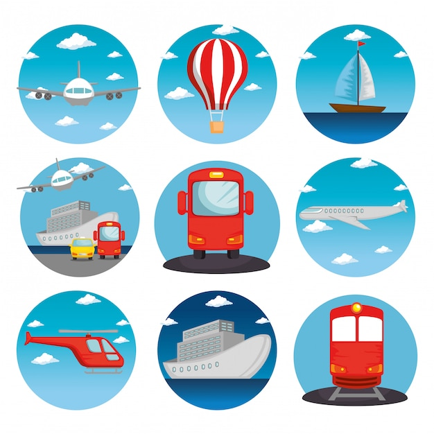 Transport logistic set vehicles Free Vector