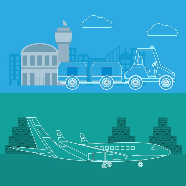 Transport and logistics air service Premium Vector
