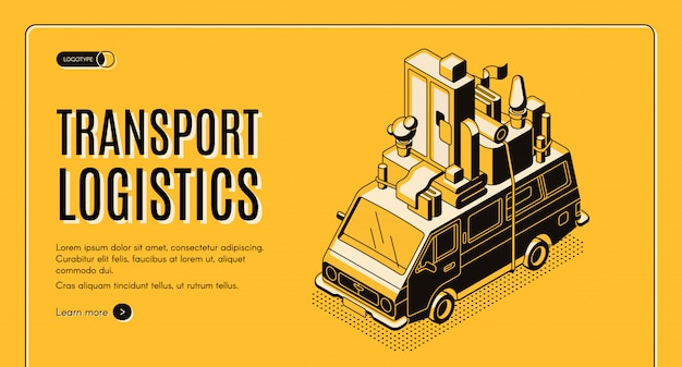 Transport logistics isometric vector web banner with wan transporting home furniture on roof line art illustration. Free Vector