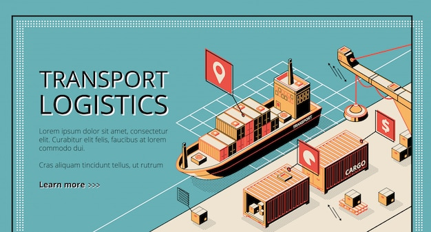 Transport logistics, ship port delivery service company landing page on retro style Free Vector
