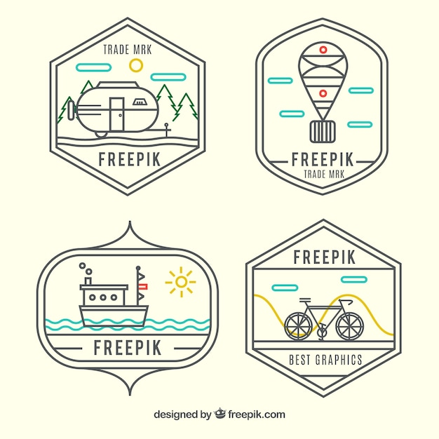 Transport logos in hipster style Free Vector