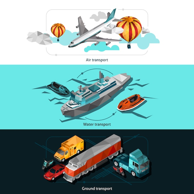 Transport low poly banners Free Vector