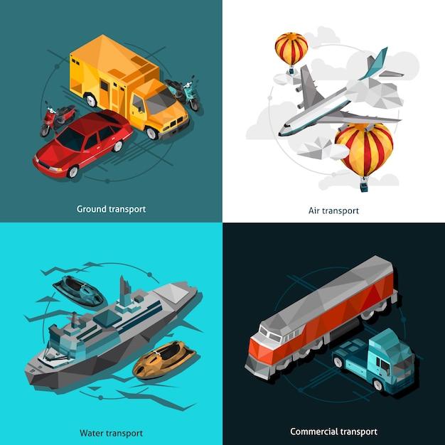 Transport low polygonal icons set Premium Vector