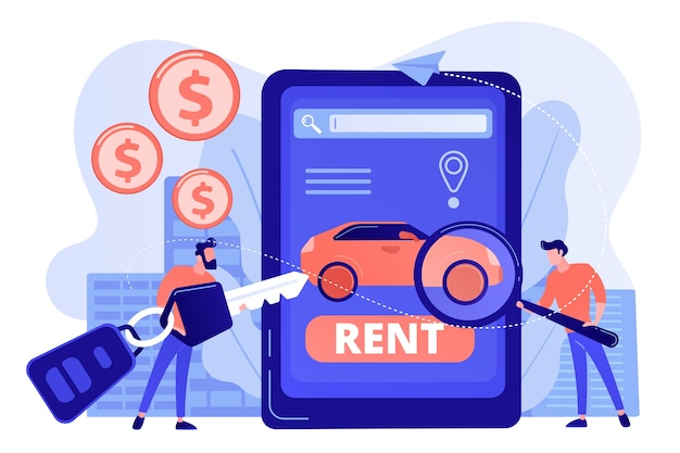 Transport renting website, automobile buying. man searching used auto on internet Free Vector