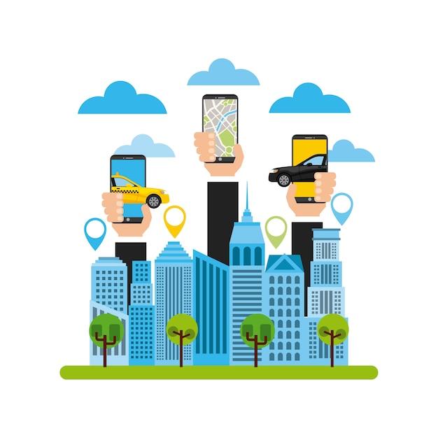 Transport service app technology icon Premium Vector