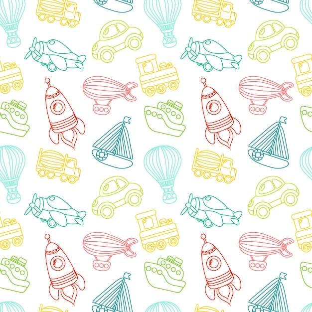 Transport toy seamless pattern Free Vector